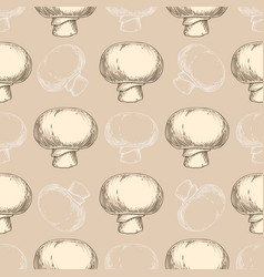 seamless pattern with champignons vector image