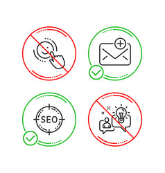 Seo smile and new mail icons set idea sign vector
