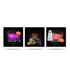 set halloween square templates with halloween vector image