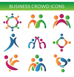 Set of icons crowd business relationship vector