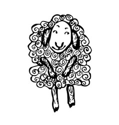 sheep character hand-drawn on white background vector image