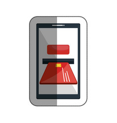 smartphone with credit card isolated icon vector image
