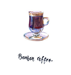Spain bonbon coffee in glass vector