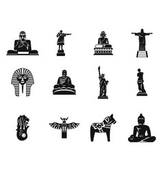 Statue icon set simple style vector
