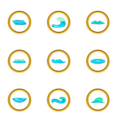 Surf waves icons set cartoon style vector