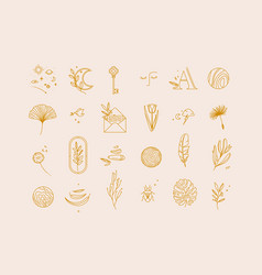 symbols flat light beige vector image