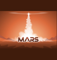 Take off the shuttle from mars vector