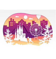 Theme park - paper cut vector