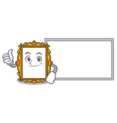 Thumbs up with board picture frame character vector
