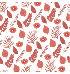Tree leaves and flowers seamless pattern flora vector