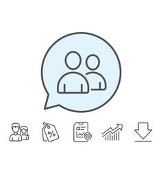 Users line icon couple or group sign vector