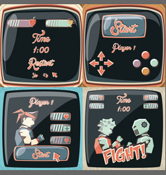 video game retro set icons vector image