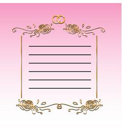 vintage template of wedding congratulations card vector image