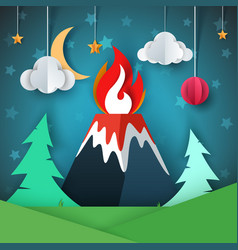 Volcano cartoon paper landscape vector