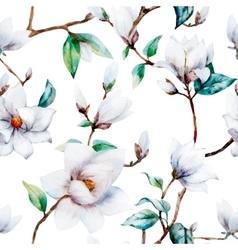 Watercolor magnolia pattern vector