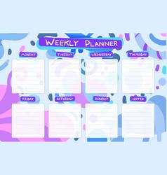 weekly calendar planner planning tasks vector image