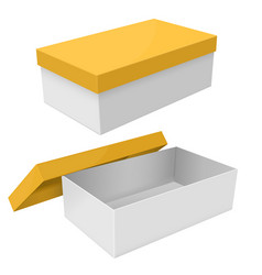 white box packaging with yellow lid vector image