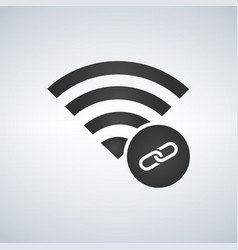 wifi connection signal icon with link in the vector image