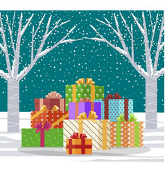 winter landscape with presents in wrapping paper vector image