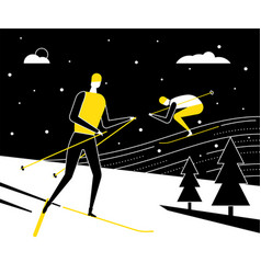 Winter sports skiing - flat design style vector