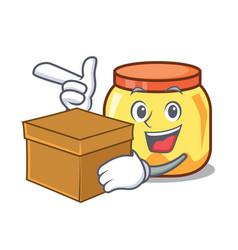 With box cream jar character cartoon vector