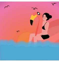 woman riding inflatable flamingo water pool vector image