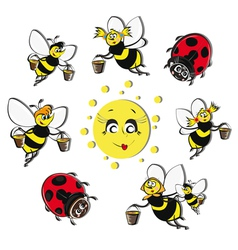 bees ladybirds around the sun vector image