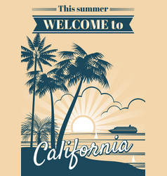 california republic poster with palm trees vector image