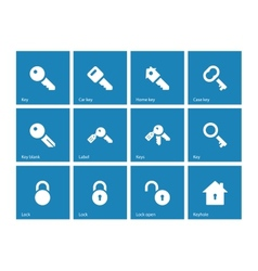Key icons on blue background vector image vector image