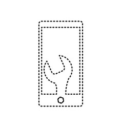 phone icon with settings black dashed vector image