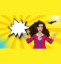 pop art cartoon comic sexy shocked stewardess vector image vector image
