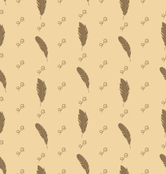 Seamless Pattern of Feathers with Ornate Elements vector image vector image