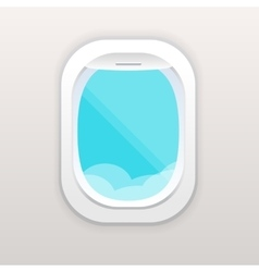 Aircraft window with cloudy blue sky outside vector image