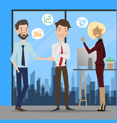 business people talking at working office space vector image
