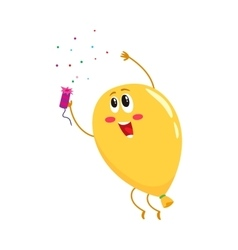 Glossy yellow balloon character with a cracker vector image vector image