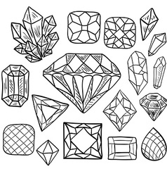 Hand drawn doodle jewelry set vector image