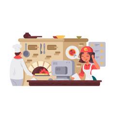 kitchen in pizzeria vector image vector image