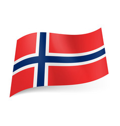 national flag of norway white bordered blue vector image