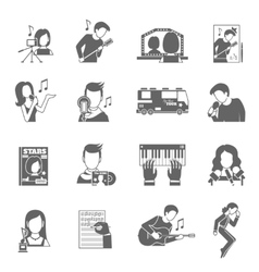 Pop Singer Icons Set vector image vector image