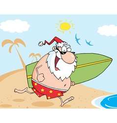 Santa Running With A Surfboard vector image vector image