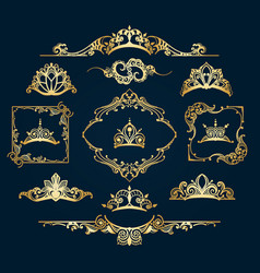 victorian style golden decor elements vector image