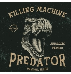 Vintage label with tyrannosaur vector