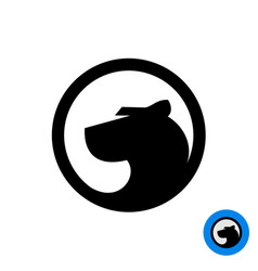 black panther head logo in a round badge vector image