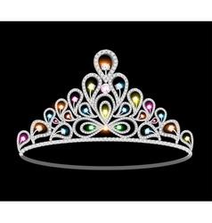 Crown tiara women with glittering vector