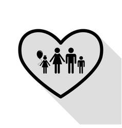 family sign in heart shape black vector image vector image