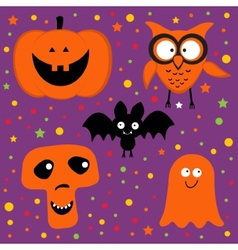 Halloween set with pumpkin owl bat ghost and skull vector image vector image