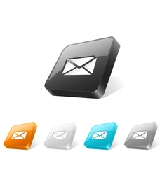 3d web button with e-mail icon vector image