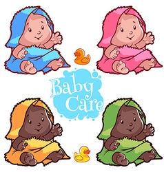 Baby wrapped in bath towel and rubber duck vector