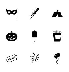 black carnival icon set vector image
