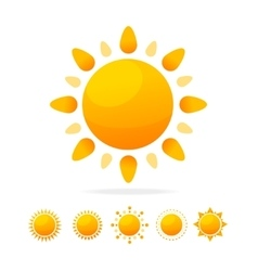 Different Sun Icon Set vector image vector image